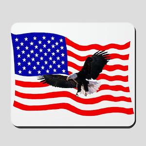 EAGLE ON AMERICAN FLAG Mousepad