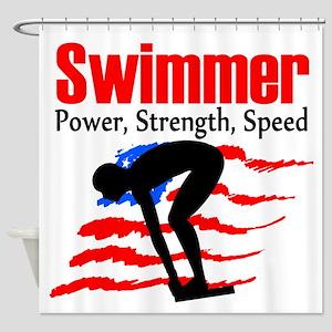 LOVE TO SWIM Shower Curtain
