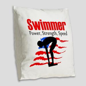 LOVE TO SWIM Burlap Throw Pillow