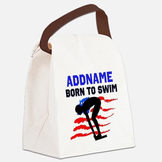 BORN TO SWIM Canvas Lunch Bag