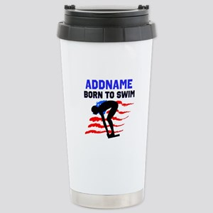 BORN TO SWIM Stainless Steel Travel Mug