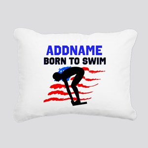 BORN TO SWIM Rectangular Canvas Pillow