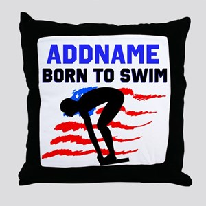 BORN TO SWIM Throw Pillow