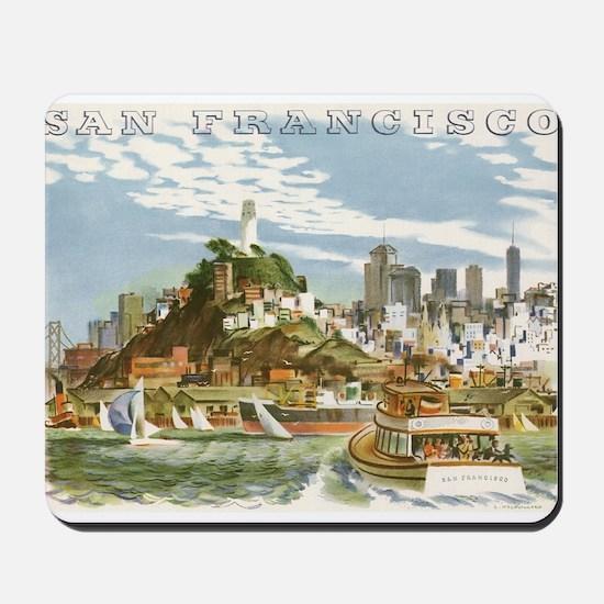 Vintage Travel Poster San Francisco Mousepad