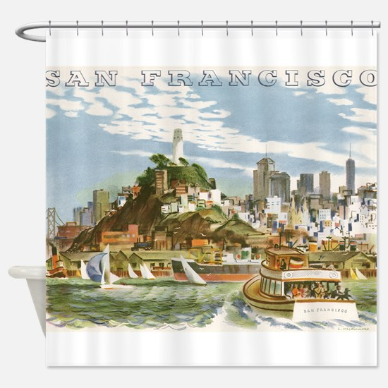 Vintage Travel Poster San Francisco Shower Curtain