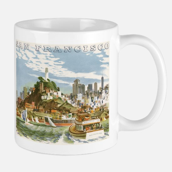 Vintage Travel Poster San Francisco Mugs