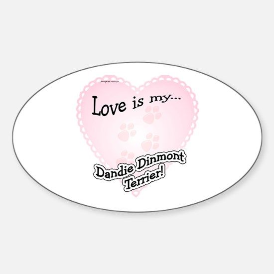Love is my Dandie Dinmont Oval Decal