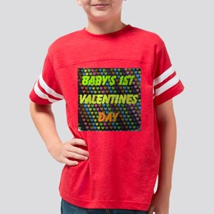 Babys 1st Valentines Day Youth Football Shirt