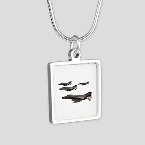 F-4 Phantom II Silver Square Necklace