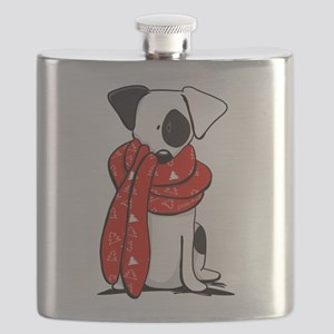 Jack Russell Red Scarf Flask