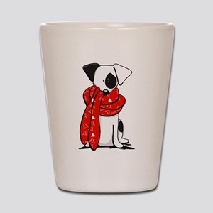 Jack Russell Red Scarf Shot Glass