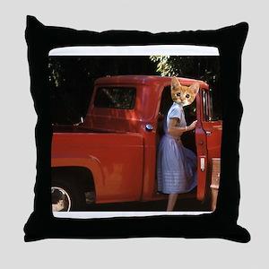 vintage truck Kitten Throw Pillow