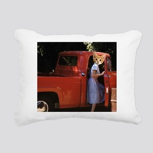vintage truck Kitten Rectangular Canvas Pillow