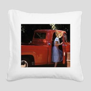 vintage truck Kitten Square Canvas Pillow