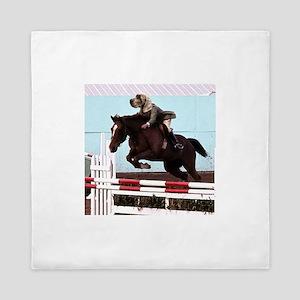 riding dog horse jump Queen Duvet