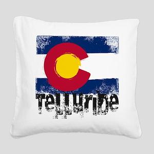 Telluride Grunge Flag Square Canvas Pillow