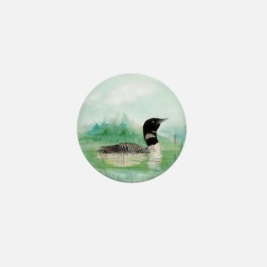 Watercolor Loon Wilderness Lake Bird Art Mini Butt