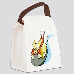 Yellow Lab Sled Canvas Lunch Bag