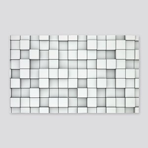 White 3D Blocks 3'x5' Area Rug
