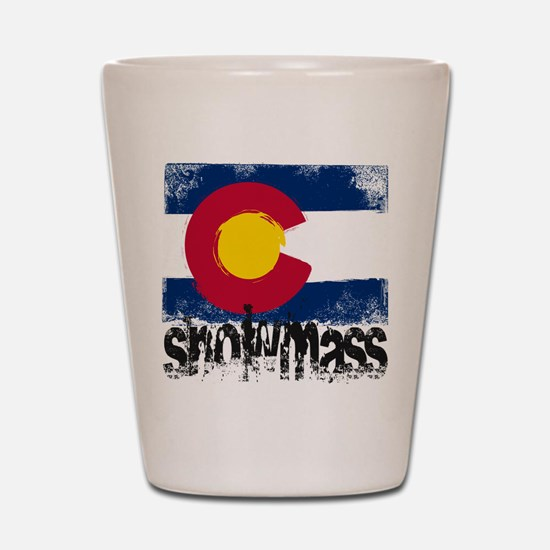 Snowmass Grunge Flag Shot Glass
