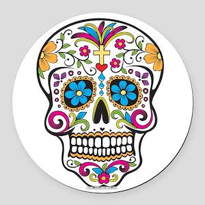Day of The Dead Sugar Skull, Halloween Round Car M