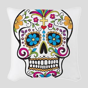 Day of The Dead Sugar Skull, Halloween Woven Throw