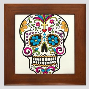 Day of The Dead Sugar Skull, Halloween Framed Tile