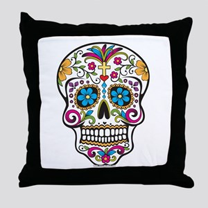 Day of The Dead Sugar Skull, Halloween Throw Pillo