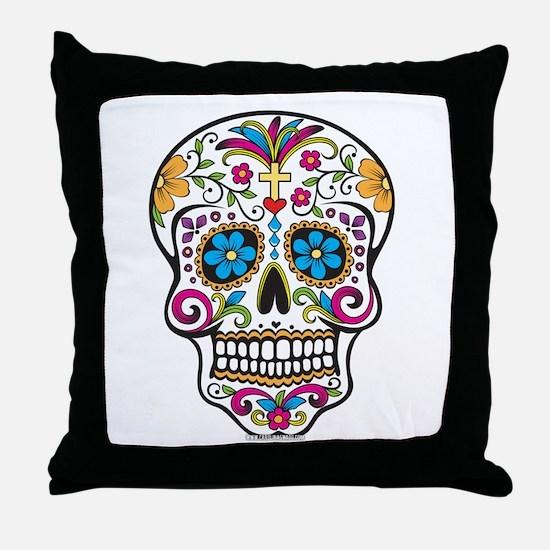 Day of The Dead Sugar Skull, Halloween Throw Pillo