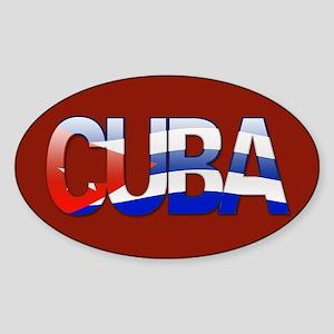 """""""Cuba Bubble Letters"""" Oval Sticker"""