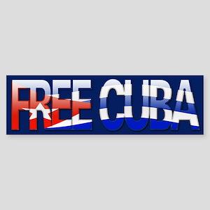 """Free Cuba Bubble Letters"" Bumper Sticker"