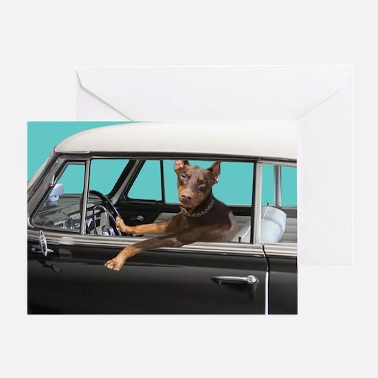 Doberman Pinscher in Classic Car Greeting Cards