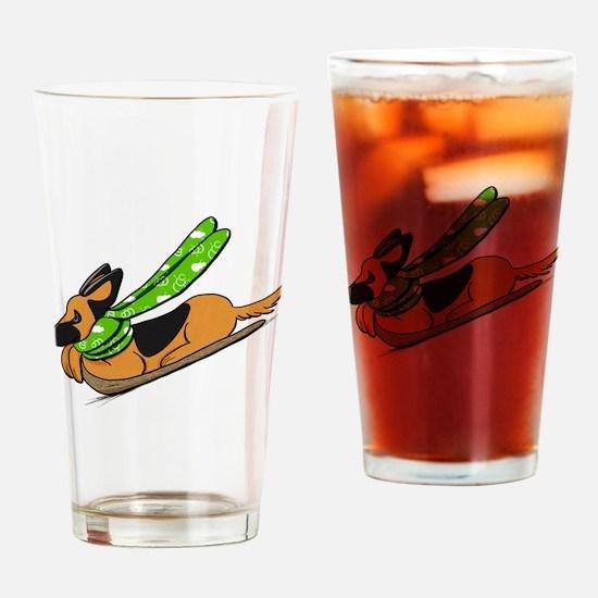 German Shepherd Sled Drinking Glass