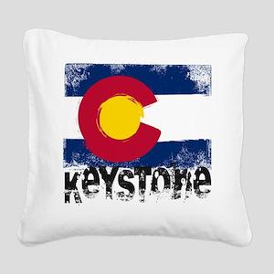 Keystone Grunge Flag Square Canvas Pillow