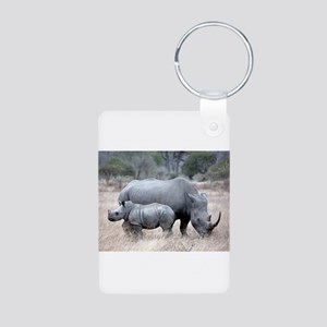 Mother and Baby Rhino Keychains