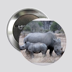 "Mother and Baby Rhino 2.25"" Button"