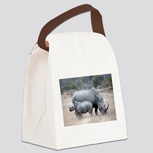 Mother and Baby Rhino Canvas Lunch Bag