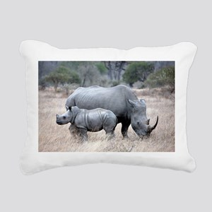 Mother and Baby Rhino Rectangular Canvas Pillow
