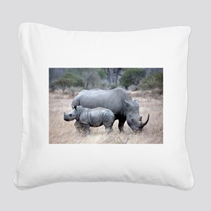 Mother and Baby Rhino Square Canvas Pillow