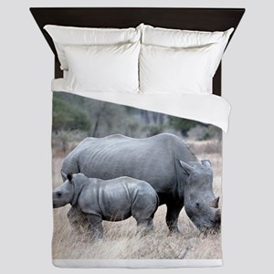 Mother and Baby Rhino Queen Duvet