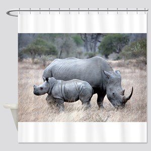 Mother and Baby Rhino Shower Curtain