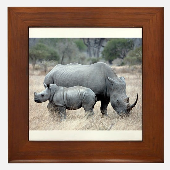 Mother and Baby Rhino Framed Tile