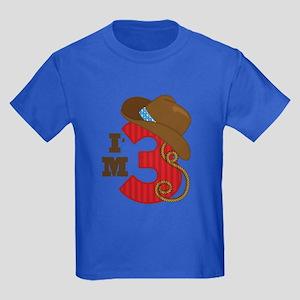 3 Year Old Cowboy Kids Dark T-Shirt