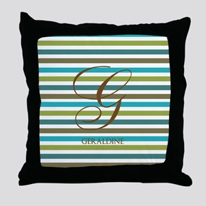 Custom Monogram Elegant Stripe Throw Pillow