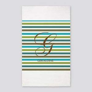 Custom Monogram Elegant Stripe 3'x5' Area Rug