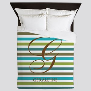 Custom Monogram Elegant Stripe Queen Duvet