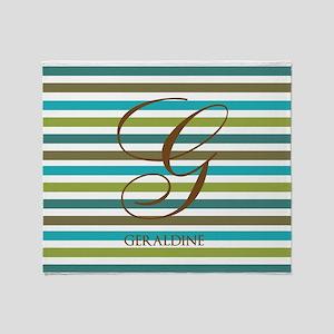 Custom Monogram Elegant Stripe Throw Blanket