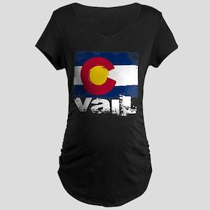 Vail Grunge Flag Maternity Dark T-Shirt