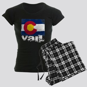 Vail Grunge Flag Women's Dark Pajamas