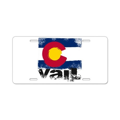 Vail Grunge Flag Aluminum License Plate